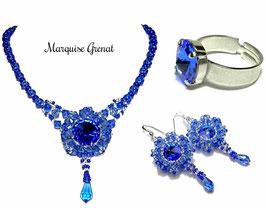 Parure tissée bleu saphir baroque collier boucles d'oreilles bague