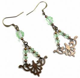 Boucles d'oreilles vintages laiton bronze cristal vert clair