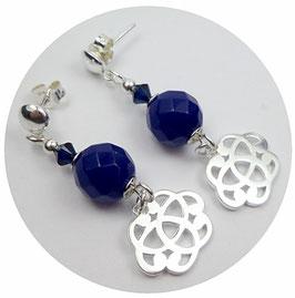 Boucles d'oreilles à clous en argent et saphir bleu, breloques noeuds celtes