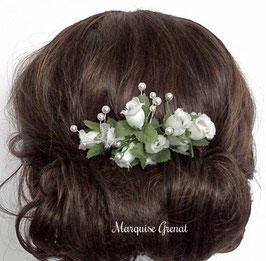 Peigne décoratif mariage champêtre, fleur et perles, blanc vert