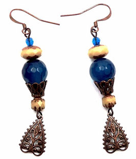 Boucles d'oreilles rétro boho bleu beige cuivre en  agate