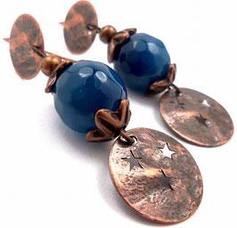 Boucles d'oreilles rock agate bleue et laiton cuivré, sequins étoilés