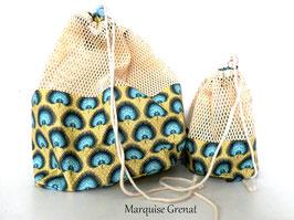 Duo de sacs à vrac, filets à provisions en coton écru bleu jaune