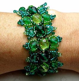 Bracelet créateur tissé de perles, vert émeraude et péridot