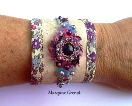 Bracelet manchette brodé Lila bohème romantique