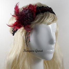 Headband textile rétro chic rouge et noir