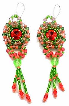 Boucles d'oreilles brodées rose saumon vert Erinite en argent cristal, cuir, verre, baroques