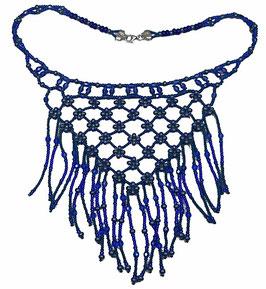 Collier plastron frangé tissé bleu, fermoir en argent, hippie chic