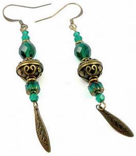 Boucles d'oreilles vert émeraude bronze, laiton, verre, cristal, rétro boho