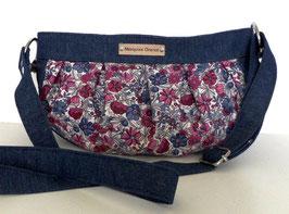 Besace bandoulière bohème chic en jean et coton fleuri