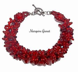 Bracelet créateur rouge tissé de perles rétro chic