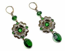 Dormeuses baroques bronze cristal Swarovski vert mousse