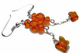 Boucles d'oreilles oranges, argent et cristal, papillons en pendants, glamour