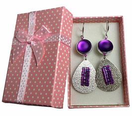 Boucles d'oreilles argentées fuchsias violettes turquoises, tissage de perles sur gouttes, style pop