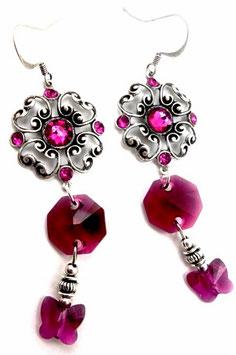 Boucles d'oreilles fuchsia rubis argent, cristal et laiton, papillons pendants, néo baroques