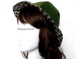 Chapeau réversible coton enduit vert graphique et feuillage