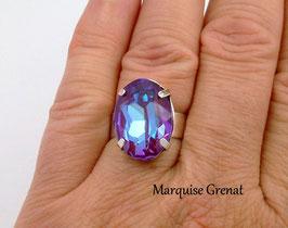 Bague en argent ajustable ovale en cristal Swarovski bleu violet