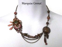 Collier bohème chic bronze vert rose en laiton et unakite
