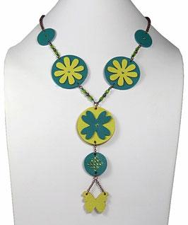 Collier hippie chic en cuir vert émeraude, jaune et cuivre Flower power