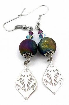 Boucles d'oreilles en agate druzy multicolore cristal et laiton argenté, Loly Pop