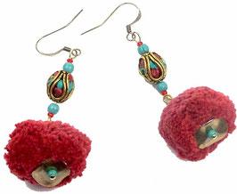 Boucles d'oreilles rouges turquoises dorées à pompons, ethniques nomades