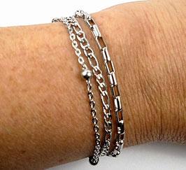 Bracelet multi rangs argenté chaînes en acier inoxydable moderne chic