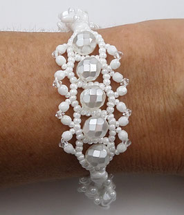 Bracelet tissé créateur blanc argent mariage