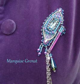 Broche brodée bleu aqua violine en cristal Swarovski, haute couture