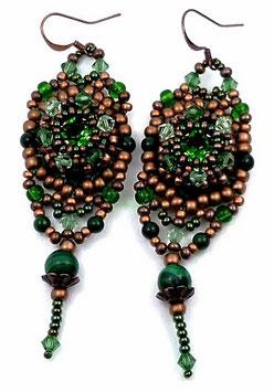 Boucles d'oreilles brodées vertes et cuivres, malachite, cristal, rétro