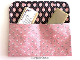 Grande pochette à savons coton enduit rose