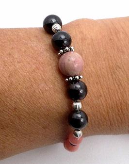 Bracelet en argent 925 et  pierres de gemme, grenat, jade, rhodonite, quartz