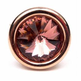 Bague ronde en argent doré rose et cristal Swarovski rose blush, anneau ajustable, glamour