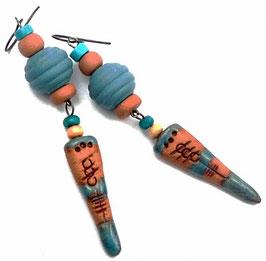 Boucles d'oreilles créateur etniques, turquoises oranges