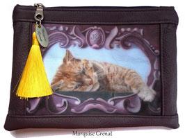 Trousse à maquillage cuir prune coupon d'art chat