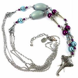 Collier sautoir Kerala, argenté, violine bleu, ethnique chic, pendentif éléphant