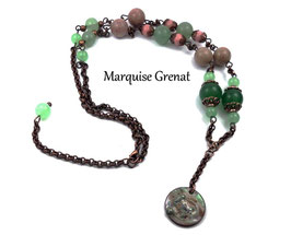 Collier Ada style boho cuivre vert et rose en pierres de gemme