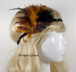 Headband rétro brodé noir topaze bronze à plumes