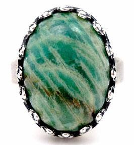 Bague ovale ajustable en amazonite verte, anneau argenté, rétro vintage