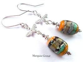 Boucles d'oreilles abeilles argent et verre de Murnao filé multicolore