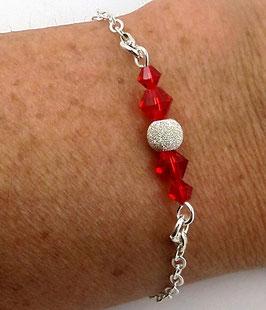 Bracelet en argent perles en cristal Swarovski rouge