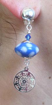 Clips en argent bleues pois blancs mandala  boho ethno chic