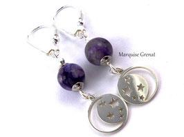 Boucles d'oreilles dormeuses  argent charoïte violette pendants célestes