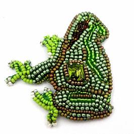 Broche brodée grenouille camaïeu de verts et bronze