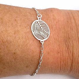 Bracelet en argent intercalaire feuille de palmier, minimaliste