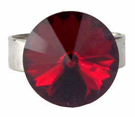 Bague ronde ajustable rouge cristal Swarovski anneau argenté