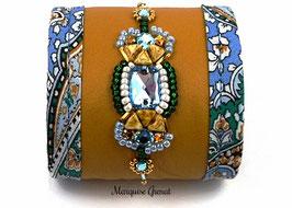 Bracelet manchette brodé cuir jaune safran ethno boho chic