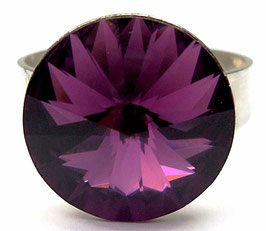 Bague ronde ajustable en argent cristal Swarovski couleur améthyste