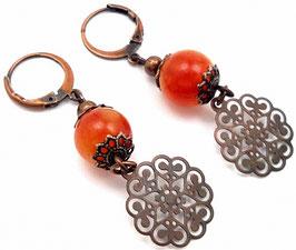 Boucles d'oreilles dormeuses estampes boho orange cuivre en jade