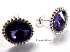 Clous d'oreilles en argent et cristal Swarovski bleu tanzanite