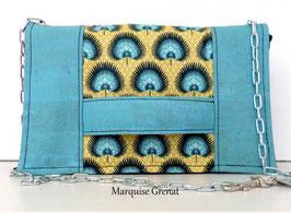 Estate pochette bleu turquoise jaune